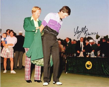 Larry Mize, Masters 1987 Augusta National, signed 10x8 inch photo.